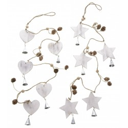 Distressed Wooden Heart / Star Garland with Bells and Pinecones