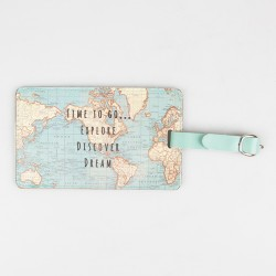 Duck Egg Blue Vintage Map Passport Holder