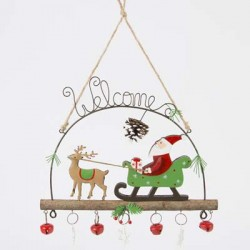 Whimsical Welcome Santa And Sleigh Decoration