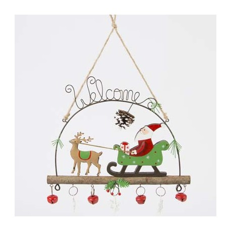 Whimsical 'Welcome' Santa And Sleigh Decoration