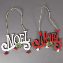 Noel with Bells and Holly Hanging Decoration