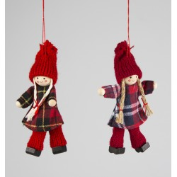 Set of Two Retro Doll Hanging Decorations