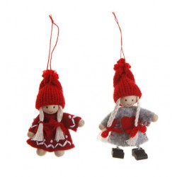 Grey and Red Felt Girls with Red Knit Hats Hangers