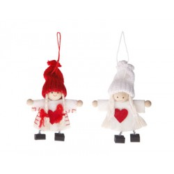 Red and White Felt Doll Hanging Decorations