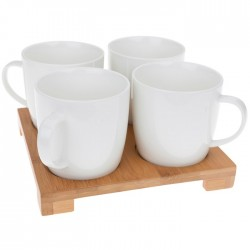 White Bamboo Tray Set with Four Mugs