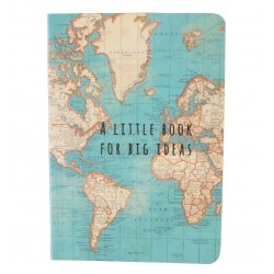 Duck Egg Blue Vintage Map Notebook