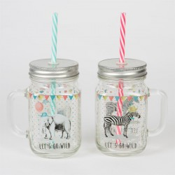 Party Animals Drinking Jar with Straw
