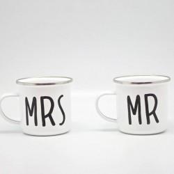 Mr & Mrs Enamel Mug Set