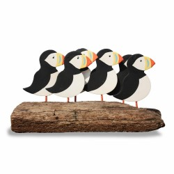 Flock of Puffins on Driftwood