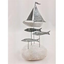 Fish and Sailboat on Pebble