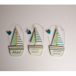 Three Sailing Boat Hanging Decorations