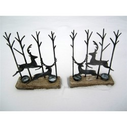 Pair of Silver Leaping Deer Silhouette Tea Light Display