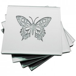 Set of Four Sparkle Butterfly Coasters