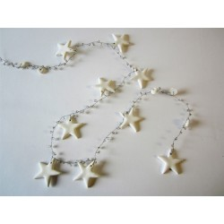 White Stars and Beads Garland