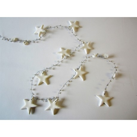 White Stars and Beads Garland