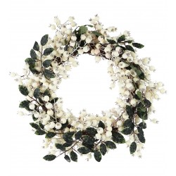Large White Glitter Berry Wreath