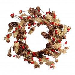 Gold Hessian Pinecone Berry Wreath