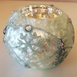 Silver Glass Ball Tea Light Holder