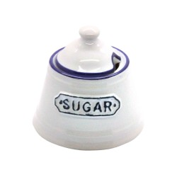 White and Blue Sugar Pot