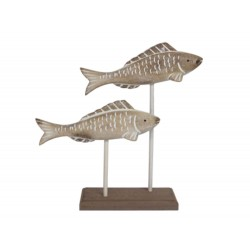 Nautical Wooden Fish on Plinth