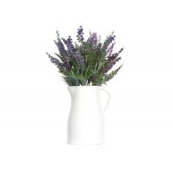 White Ceramic Jug with Lavender