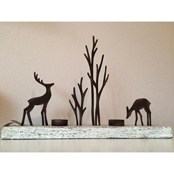 Reindeer and Tree Silhouette Tea Light Display