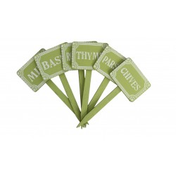 Green Wooden Herb Stakes