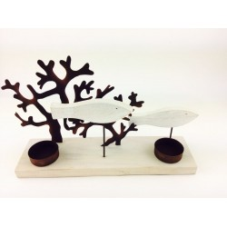 Coral Fish on Oblong White Driftwood Base
