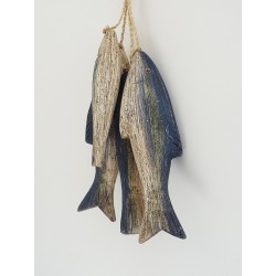 Wooden Blue Fish on Rope
