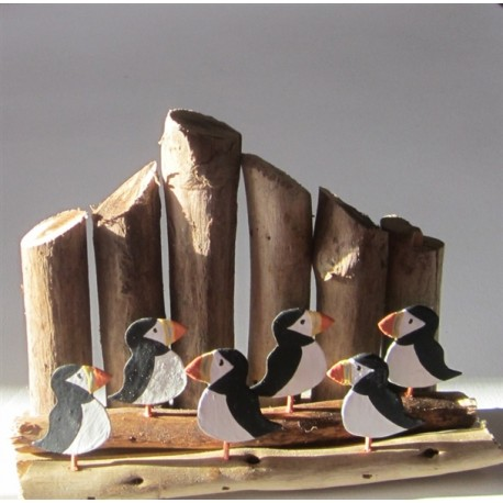 Puffins On Driftwood Groynes
