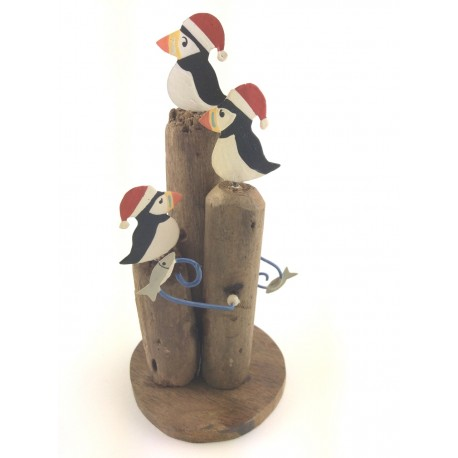 Kinetic Puffins with Christmas Hats