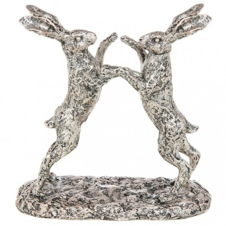 Boxing Hares Statue - Champagne Bronze