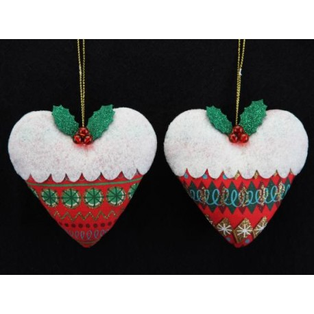 Festive Heart Christmas Pudding Hangers