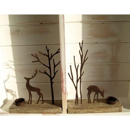 Pair of Reindeer Silhouette Tea Light Display