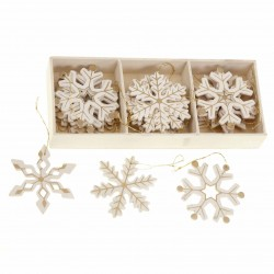 Cream and Golden Snowflake Decorations