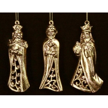 Set of Three Wise Men Golden Hanging Decorations