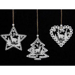 Irid Glittered Fretwork Stag Hanging Decorations