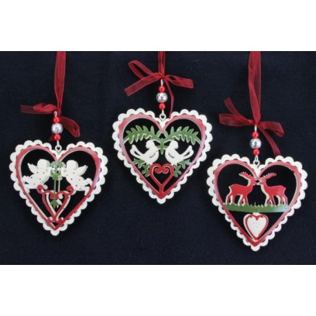 Trio of Painted Tin Heart Hanging Decorations