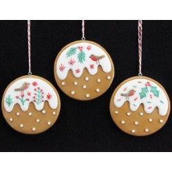 Set of Three Gingerbread Iced Pudding Decorations