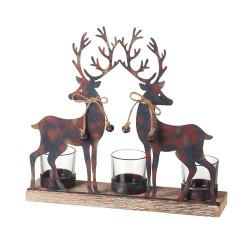 Reindeer Tea Light Holder on Distressed Wood Base