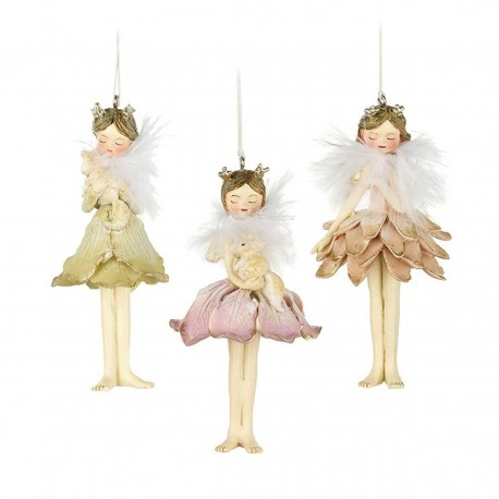 Three Fluffy Flower Fairy Hanging Decorations