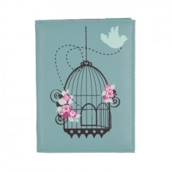 Vintage Birdcage Passport Cover in Duck Egg Blue