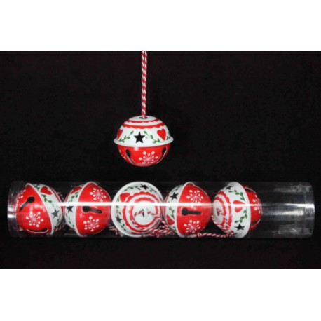 Six Large Scandi Metal Bell Hanging Decorations