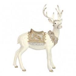 White Glitter Standing Stag Ornament