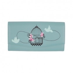 Vintage Birdcage Travel Wallet in Duck Egg Blue