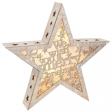 Wooden LED We Wish You a Merry Christmas Star