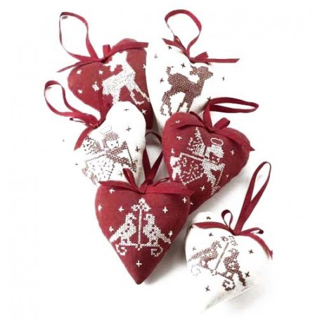 Six Fabric Heart Hanging Decorations