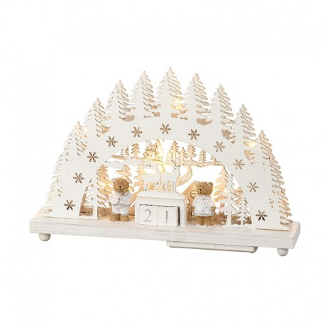 Wooden LED Count Down Decoration with Teddy Bears