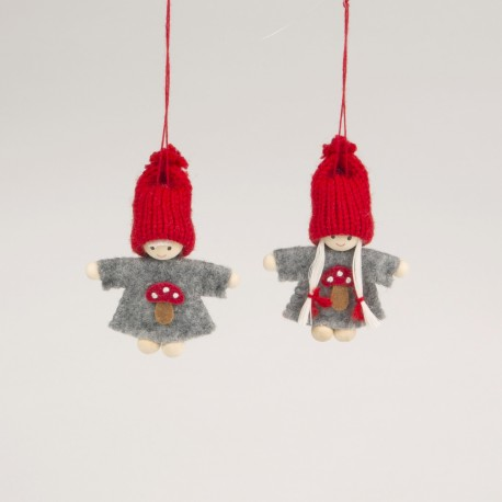 Pixie Girl Toadstool Hanging Decoration