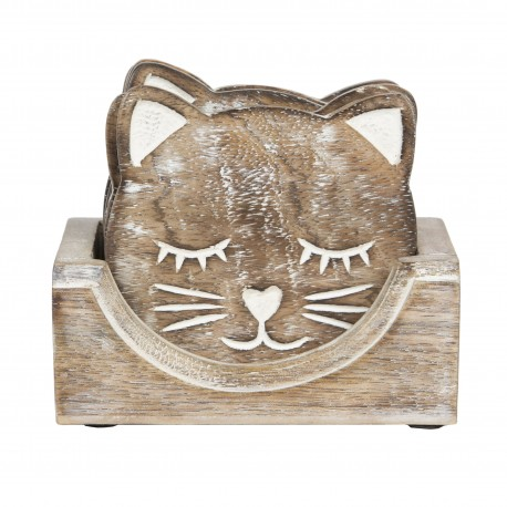 Wooden Carved Cat Coasters